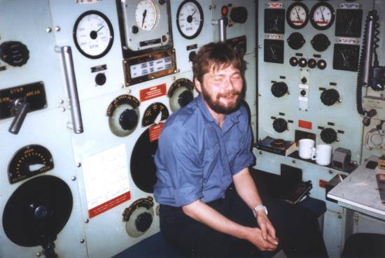 Me on HMS/M Orpheus in the Motor Room